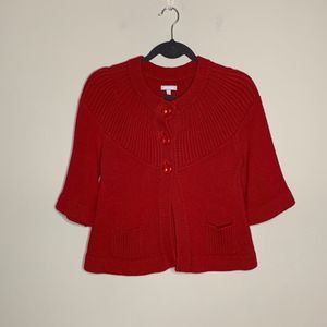 Anthropologie Tabitha Red Knit Cardigan Size M